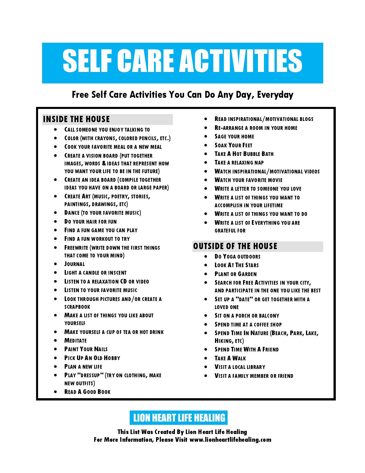 Worksheets Self Care Worksheets life healing worksheets handouts lion heart self care activities lhlh image