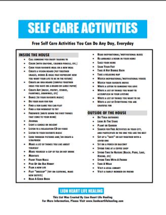 SELF CARE ACTIVITES IMAGE