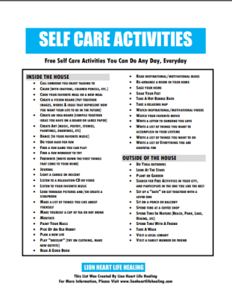 SELF CARE ACTIVITES IMAGE